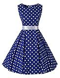 VKStar® 50er 60er Retro Kleider Damen mit Tupfen Abendkleid Vintage Damen Rockabilly Ballkleid Blau S
