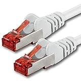 1aTTack CAT6 SFTP Netzwerk Patch Kabel doppelt geschirmt PIMF mit 2 x RJ45 Stecker WEISS - 5m 5 Meter
