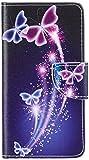 MAXFE.CO Lederhülle Leder Tasche Case Cover für Wiko Lenny 2 Hülle PU Schutz Etui Schale Schmetterling Flip Cover mit Standfunktion Karteneinschub und Magnetverschluß Etui