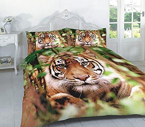 Duvet Cover Set 3D Animal Print Effect Quilt Bedding Set New (Single, Jungle Tiger)