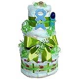 """Windeltorte"""" Beissmännchen"""" Bambino Geschenk zur Taufe oder Geburt für Mädchen und Jungen (Grün) Geschenkfertig in Folie verpackt. Auf Wunsch mit kostenlosen Grußkärtchen."""