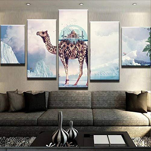 WOKCL Leinwanddruck Wohnzimmer Dekoration 5 Teile/los Indisches Paradies Auf Dem Kamel Wanddruck Kunst Leinwand HD Malerei Modulare Bild Poster