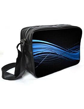 Snoogg Abstrakt Blau Design Leder Unisex Messenger Bag für College Schule täglichen Gebrauch Tasche Material PU