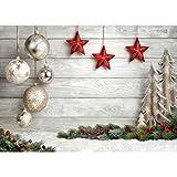 AIIKES 2.1Mx1.5M/7x5FT Bolas de Fondo Navidad Estrellas Nieve Tierra Fondos de Fotografía de Pared de Madera Fondos Fotográficos Personalizados para Estudio Fotográfico 10-383