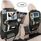Yqbuy PU Leder Auto Rücksitz Organizer und iPad Mini Halter, multifunktionale Lagerung mit Tasse, Papiertuch, Regenschirm, Schlüssel, Handy für Kinder und Kleinkinder (2 Stück, schwarz)