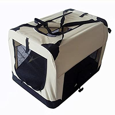 Pet Zone Strong Pet Beige And Black Fabric Crate Cage Soft For Dog Cat Guaranteed Low Prices