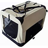 PET ZONE STRONG PET BEIGE AND BLACK FABRIC CRATE CAGE SOFT FOR DOG CAT GUARANTEED LOW PRICES (EXTRA LARGE)