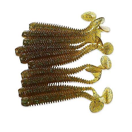 Shuzhen 10pcs Suave Noctilucentes Se uelos de Pesca Cebo Artificial Tackle Color Colormix Size Gris y Verde