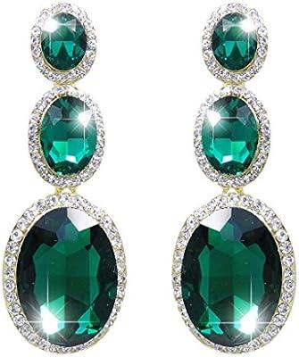 Ever Faith - Atractivo 3 Oval Lágrima Pendientes Colgados Verde Cristal Austriaco Oro-Tono N02344-3