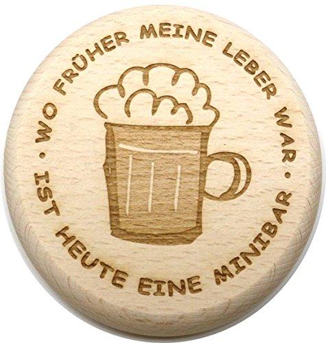 Bierglasdeckel 10 cm P aus Holz - Glasdeckel (Wo früher meine Leber - Buchen Meinen Geburtstag