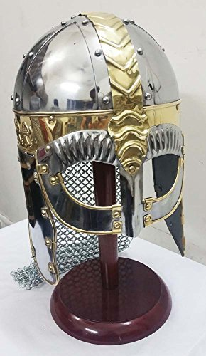 Viking Mask Helmet with Chain Mail Medieval Armor Role Play Costume Helmet by Shiv Shakti Enterprises