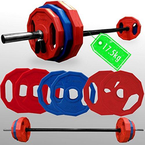 bofyrip polygonal DY Gewicht Teller Barbell Set 17Kg + 2,5cm Standard Studio Bar Fitness (Gewicht Teller-set Standard)