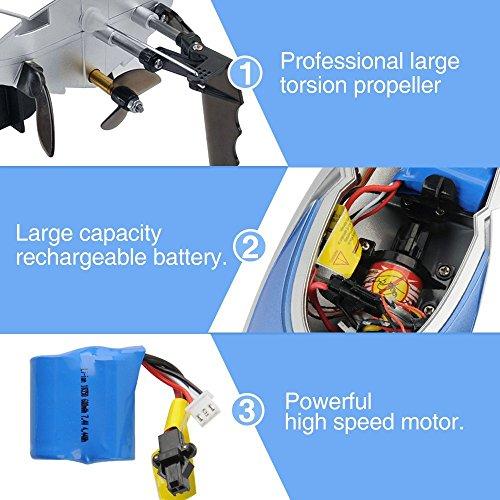 RC Boot High Speed Boot 2,4 GHz 20MPH mit Kapsel Standard Funktion Fernbedienung Spielzeug für Jungen mit Extra Batterie (Blau Weiss) - 4