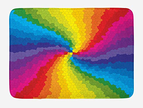 Colorful Bath Mat, Stained Glass Design in Rainbow Colors Burst Effect Abstract Mosaic Swirls Artwork, Plush Bathroom Decor Mat with Non Slip Backing, 23.6 W X 15.7 W Inches, Multicolor White Swirl Glass Bowl