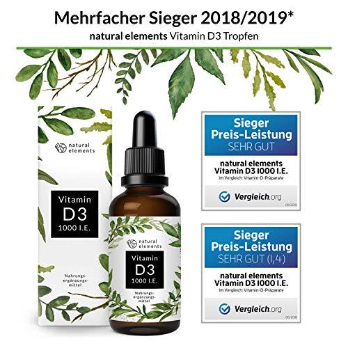 Vitamin D3 – Laborgeprüft – Zertifiziert – 1000 I.E. pro Tropfen – 50ml (1750 Tropfen) – In MCT-Öl aus Kokos – Hochdosiert und hergestellt in Deutschland - 2