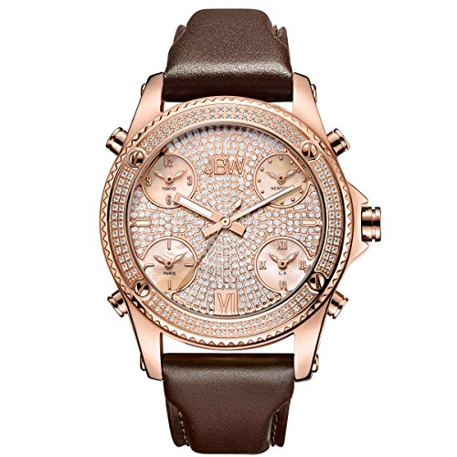 JBW Men's Jet Setter 1.36 ctw Diamond 18K Rose Gold-Plated Stainless Steel Watch - J6354C