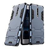 #6: Taslar™ Dual Layer Hybrid Armor Stand Cover Case Protector Back Cover Kickstand For Nokia 8,(Dark Blue)