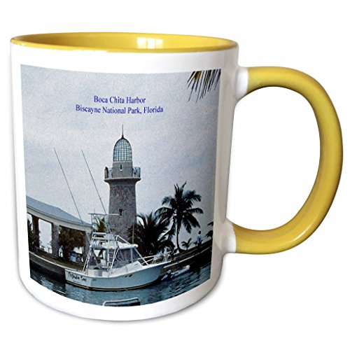 3dRose Mug_60237_8 Biscayne National Park-Boca Chita Harbor Keramiktasse, Keramik, Gelb/Weiß