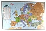 Politische Europakarte auf Kork-Pinnwand, englisch, 90x60cm: Europakarte zum Pinnen, Maßstab 1:7.000.000 Mio, mit 12 Pinnfähnchen mit silberfarbenen Holzrahmen