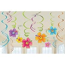 Decoración para colgar veraniega 12 Espirales decorativas con flores Espirales ornamentales Artículo de fiesta hawaiana Accesorios