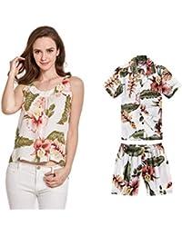 d599a2a73 Camiseta y Camisa sin Mangas a Juego de Madre Hijo Hawaiian Luau en Crema  Rafelsia Mujer