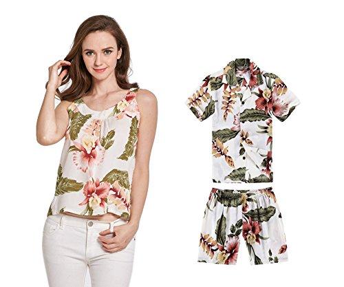 Camiseta-y-camisa-sin-mangas-a-juego-de-madre-hijo-Hawaiian-Luau-en-Crema-Rafelsia-Mujer-XL-Chico-10