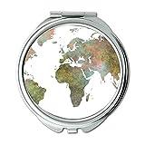 Yanteng Taschenspiegel, Taschenspiegel Taschenspiegel, zweiseitig, Weltkarte Taschenspiegel für Herren/Damen MT 090
