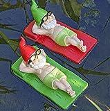Decoracion Jardín Gnomos Nadadores en colchonetas. Longitud 15cm . Color Rojo