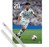 1art1 Poster + Hanger: Fußball Poster (91x61 cm) Real Madrid, Marco Asensio Aktion 2017/2018 Inklusive EIN Paar Posterleisten, Transparent