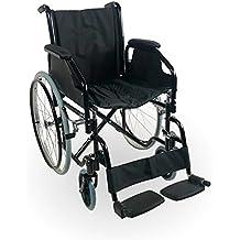 Zusammenfaltbarer Rollstuhl mit Selbstantrieb | Mit herausnehmbare Armlehnen und Fußstützen | Hohe Sicherheit und bequeme Bedienung | Sitzbreite 43 cm | Maximale Belastbarkeit 100 kg | Catedral Modell | Mobiclinic