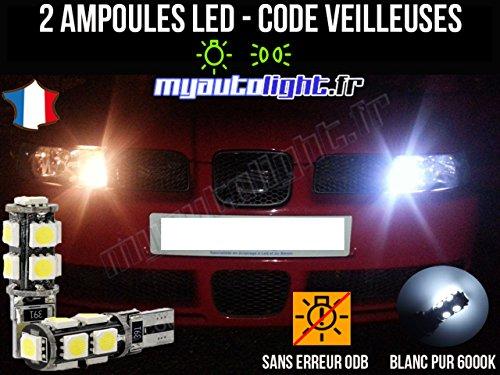MyAutoLight - Pack Ampoules Voiture Pour LEON 1 - Veilleuses - Blanc Pur Effet Xénon