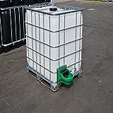 IBC Wassertank 1000L, Blase auf Stahl/PE-Palette mit Weidetränke und Verbindungsset, Gitterbox gebraucht.