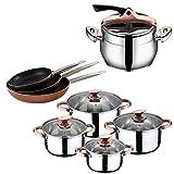 Set Bateria 8 piezas SIP + Olla express Inf.Chefs. 6 L + Set 3 sartenes PROFESSIONAL CHEF COPPER...