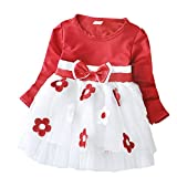 PJPYIF Baby Mädchen Langarm Blumen Bowknot Dress Prinzessin Party Kleid