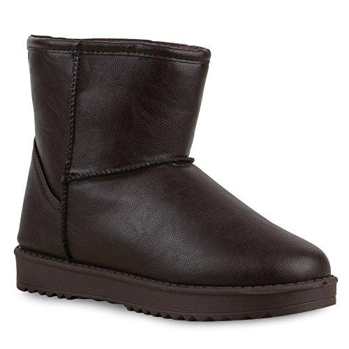 Damen Stiefeletten Stiefel Kunstfell Schlupfstiefel Boots Dunkelbraun Braun