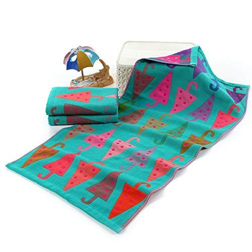 Toalla de baño con diseño de lunares, color rosa, para niños, de algodón, absorbente