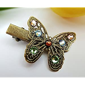 Kleine Haarklammer mit Schmetterling, vintage Haarschmuck