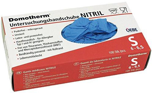 Domotherm Nitril Untersuchungshandschuhe S (Größe 6 - 6,5), 100 Stück Einweghandschuhe (Einweg-handschuhe Ungepudert)