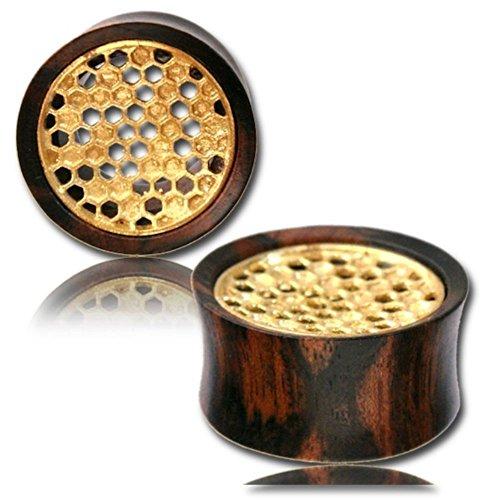 Chic-Net legno tunnel tamarindo legno tamburato pieno intarsi in ottone oro antico tribali Plug organici Expander 22 millimetri