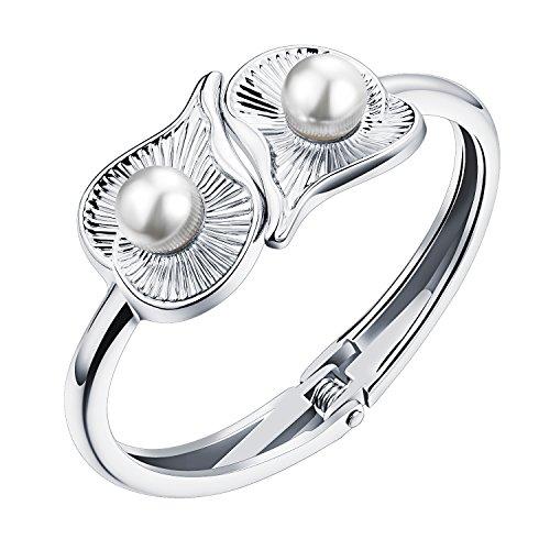 PAURO Damen Schmuck Liebe Herz Shell Perlenarmband Offenen Armreif Silber Ton