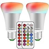 LED RGBW Lampe mit Fernbedienung | e27 farbwechsel led | 10W(ersetzt 60W) Dimmbare Birne mit RGB und Warmweiß(2700 Kelvin) | für ambiente Beleuchtung Party Deko(2 Pack E27 RGB+2700K)