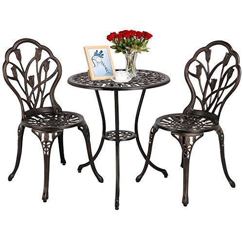 Yaheetech Balkonset Gartenset Bistrotisch Gartentisch mit 2 Stühle Bronze