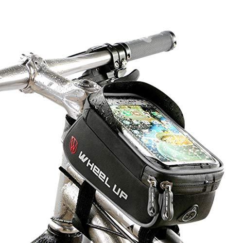 Fahrrad Rahmentasche, Fahrrad Oberrohrtasche Tasche, XPhonew wasserabweisend Fahrrad Handytasche Vorderes Rohr Rahmen Tasche Halter für iPhone XS X 8 7 6S 6 Plus Samsung Sony Smartphones bis 6 Zoll (8 7 Id Rohr)