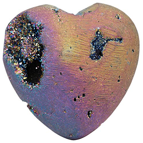 Home Decor Taschen (mookaitedecor Titanbeschichteter Achat Druzy Herz Kristall Heilstein Tasche Reiki Balancing Home Decor 3,8 cm Regenbogenfarben)