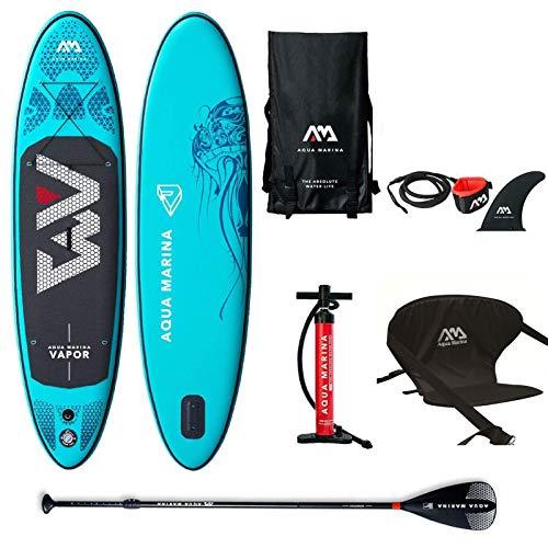 Aqua Marina Aufblasbar Sup Board Stand up Paddle AQUAMARINA Vapor 2019 Komplette Packung 315x76x15cm mit Kajak Sitz -