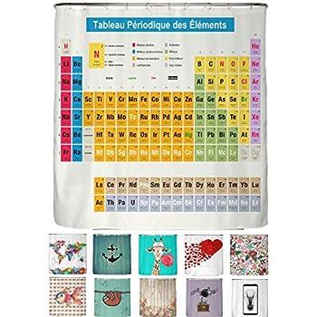 De Mendeleev/'s tableau périodique salle de bains Rideau de douche tissu imperméable et 12 crochets