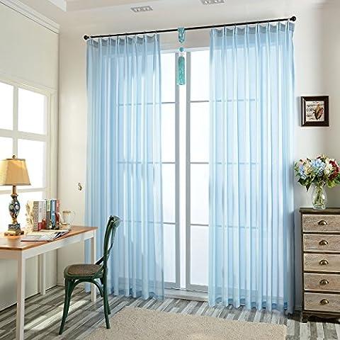 Tendance Sheer Rideaux Panneaux Voilage Couleur Solide pour porte fenêtre balcon flottant, bleu ciel