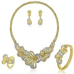 Idea Regalo - MESE London Collana Di Nozze Con Bracciale Anello E Orecchini Set Di Pendente In Oro 18 Carati 'The One' in Confezione Regalo