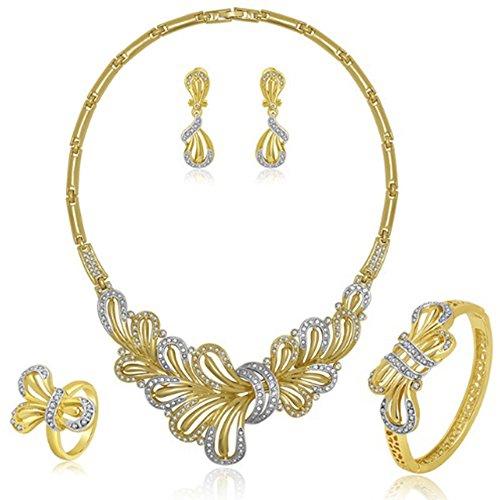 MESE London Hochzeit Halskette Mit Armband Und Ohrringe Set 18K Gold Vergoldet Eleganten Ring Anhänger - Kostenlose Geschenkbox Gold-schmuck-box