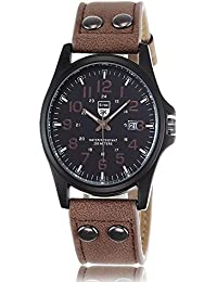 iSweven isweven Leather band wristwatch Twill digital scale fashion watch Analogue Brown Unisex Wrist Watch W1012aa